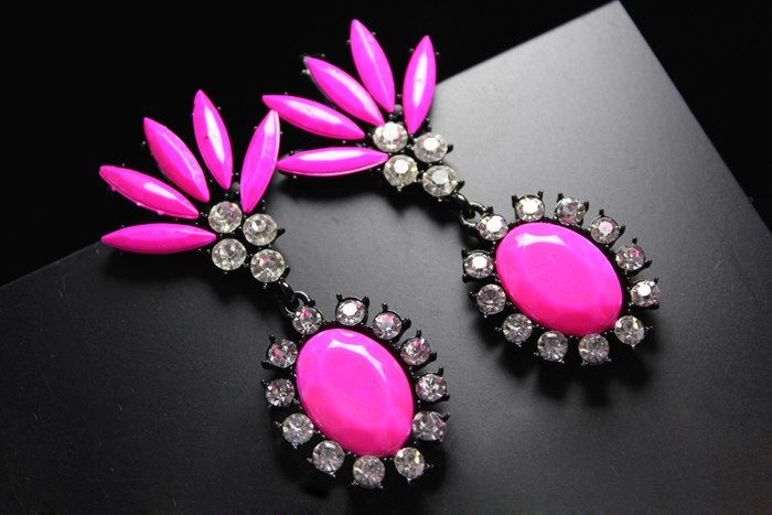 Pair of Oval Rinestone Embellished Drop Earrings