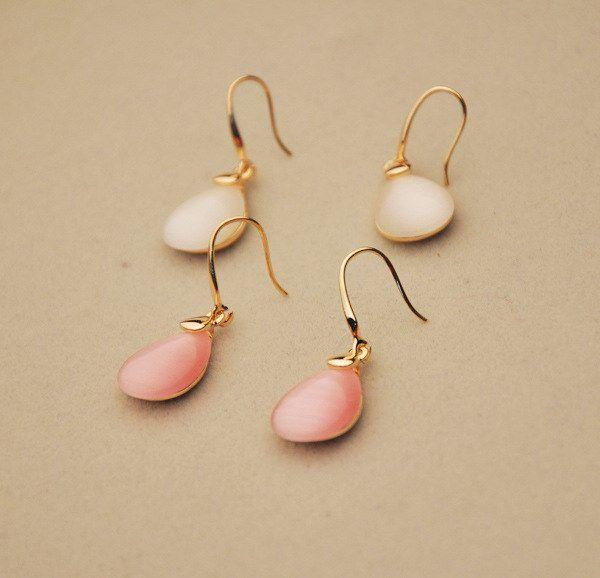 Pair of Faux Opal Waterdrop Shape Earrings