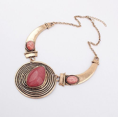 Statement Faux Gem and Screw Thread Embellished Round Pendant Necklace
