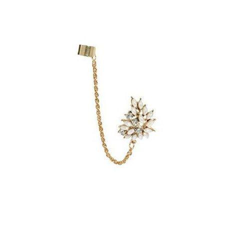 Rhinestone Faux Gem Embellished Flower Tassel Clip Earring