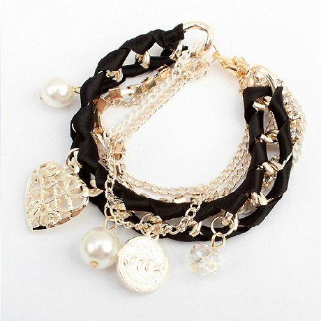 Heart Shape Pendant Faux Pearls Embellished Bracelet