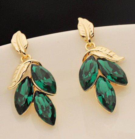 Pair of Faux Gem Embellished Leaf Shape Drop Earrings