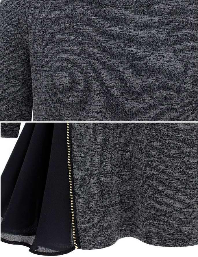 Casual Style Scoop Neck Zipper Splicing Long Sleeve Dress For Women