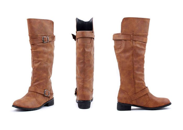 Elastic Band Slip On Mid Calf Boots