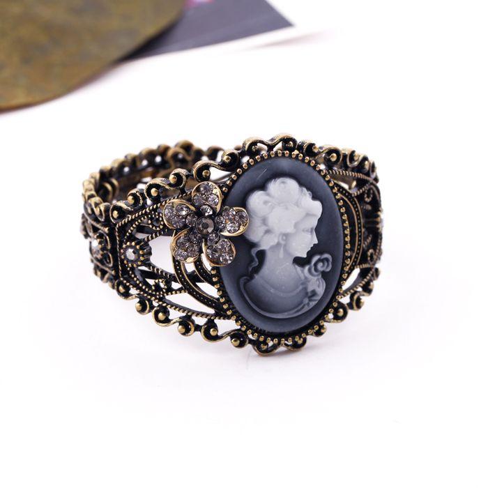 Vintage Rhinestoned Flower Queen Print Cameo Cuff Bracelet