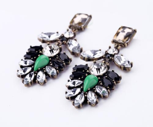 Pair of Vintage Exaggerated Gemstone Embellished Earrings For Women