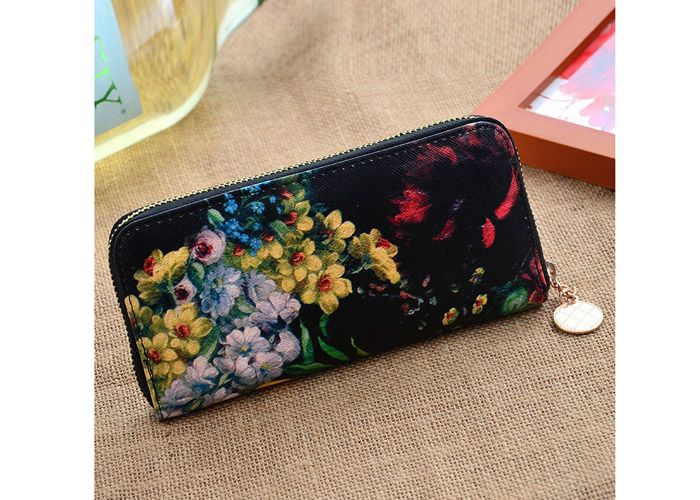 Stylish Floral Print and Zipper Design Women's Wallet