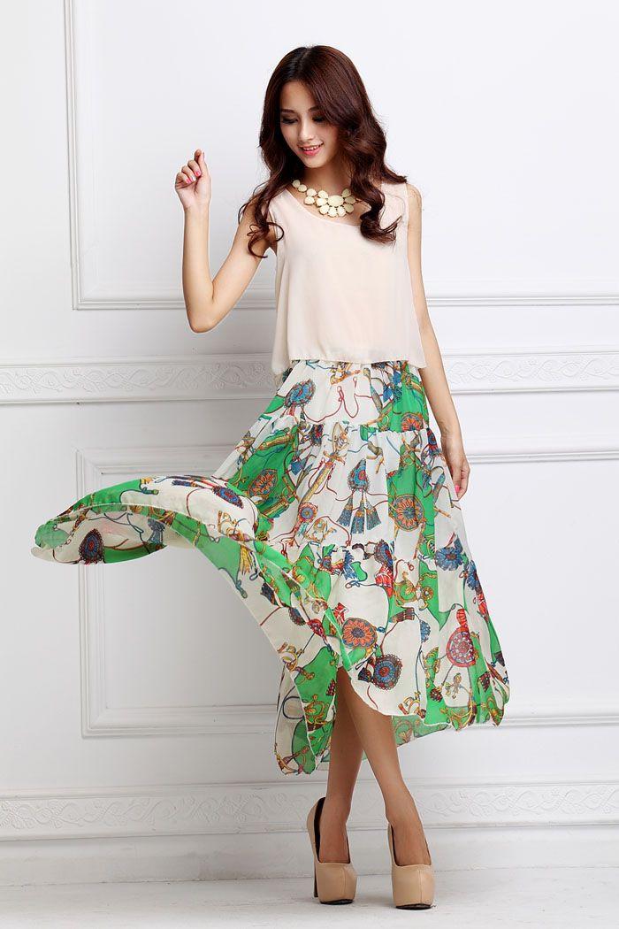 Bohemian Style Sleeveless Color Block Faux Twinset Chiffon Women's Maxi Dress