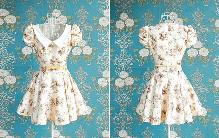 Vintage Peter Pan Collar Floral Print Bow Puff Sleeve Pleated Dress For Women