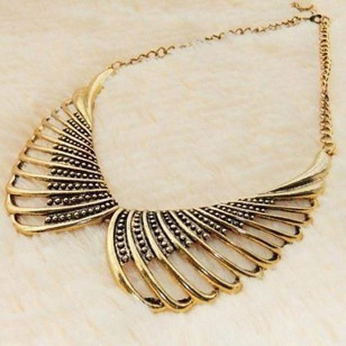 Vintage Bead Hollow Out Design Alloy Fake Collar Necklace