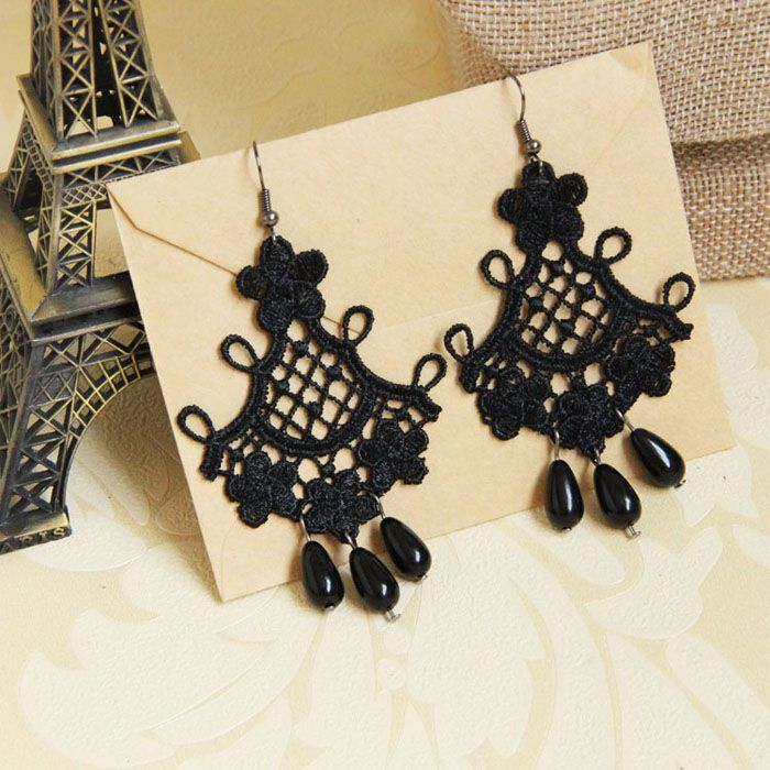 Pair of Retro Beads Embellished Lace Drop Earrings