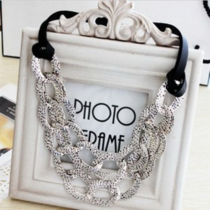 Exaggerated Style Openwork Collar Shape Design Black Rope Decorated Necklace For Women