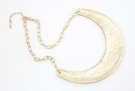 Fashion Colored Glazed Crescent Pendant Alloy Necklace For Women