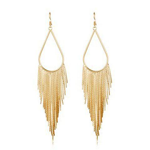 Pair of Alloy  Long Fringed TeardropDrop Earrings