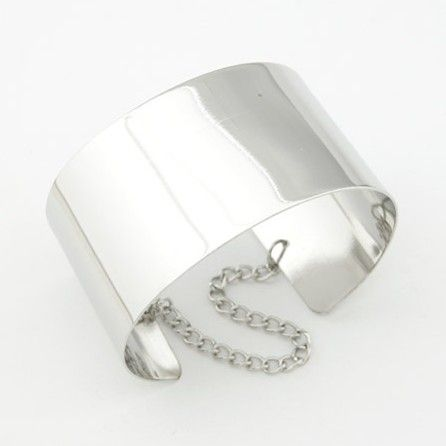 Plated Wide Chain Tassel Bracelet
