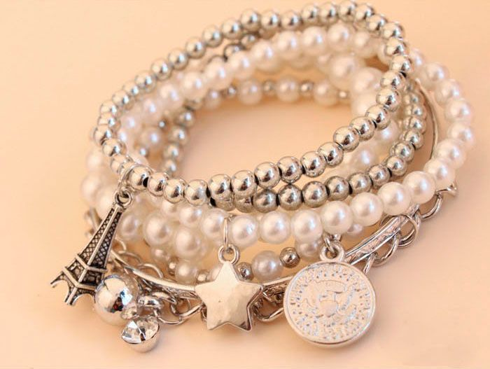 6 PCS of Faux Pearl Decorated Star Pendant Charm Bracelets