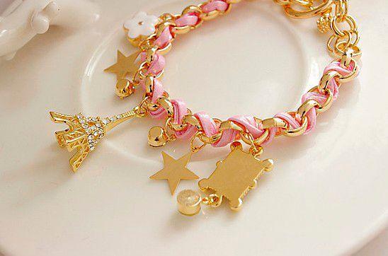 Stylish Multielement Star Flower Tower Pendant Charm Bracelet For Women