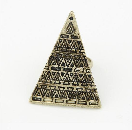 Stylish Triangle Shape Pattern Decorated Ring For Women