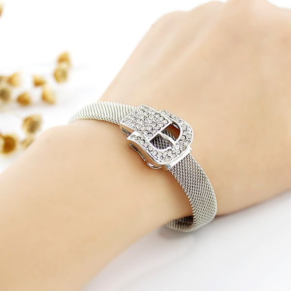 Rhinestoned Belt Shape Alloy Bracelet