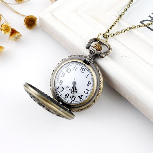 Filigree Flower Pocket Watch Pendant Necklace