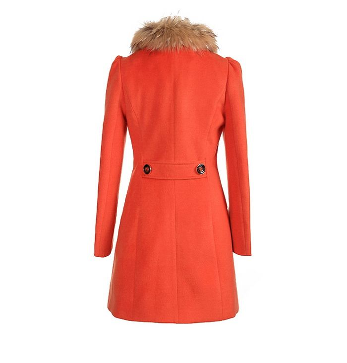 Ladylike Style Long Sleeves Worsted Double-Breasted Women's Coat