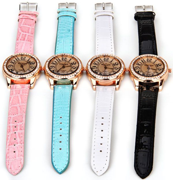 Womage 596 Quartz Watch Time Showed By 12 Arabic Numbers Leather Watch Band for Women - Black