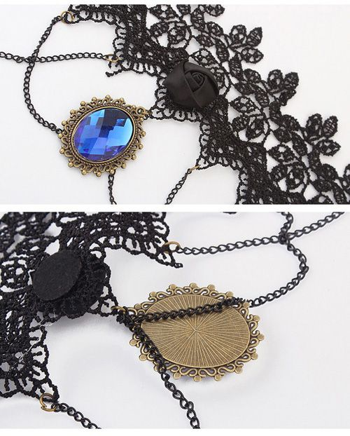 Gothic Style Faux Gem & Tassels & Rose Design Lace Necklace For Women
