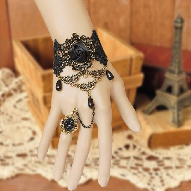 Rose Wide Lace Charm Bracelet With Ring