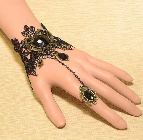 Vintage Faux Gemstone Embellished Carved Design Wide Lace Charm Bracelet For Women