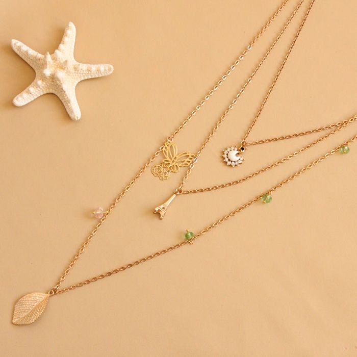 Leaf Butterfly Tower Swan Sweater Chain