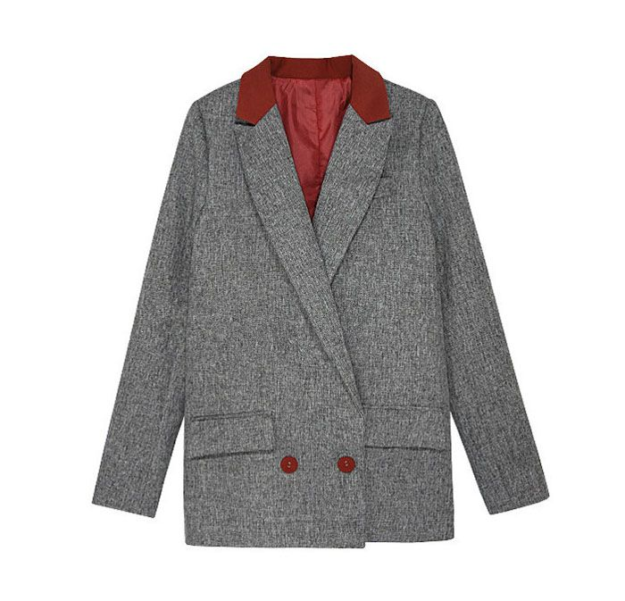 Vintage Lapel Collar Color Matching Long Sleeves Women's Long Blazer