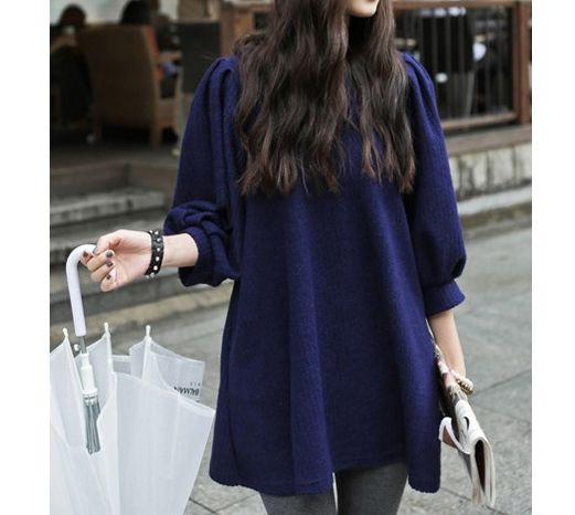 Vintage Scoop Neck Loose-Fitting Solid Color Puff Sleeve Dress For Women