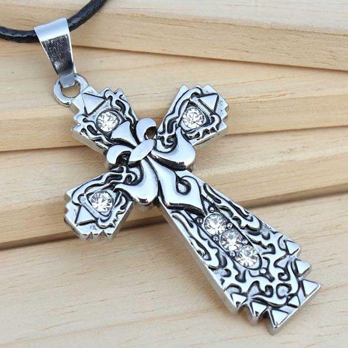 Diamante Carved Design Cross Pendant Necklace