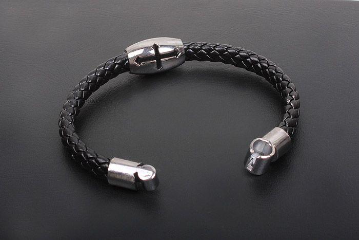 Hollow Cross Embellished Knitting Design PU Leather Cuff Bracelet