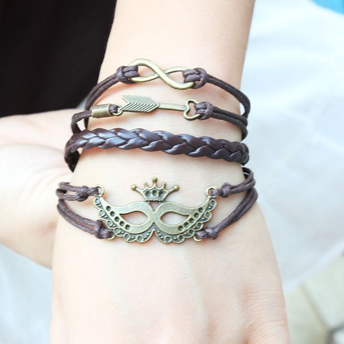Punk Mask Crown Arrow Charm Bracelet