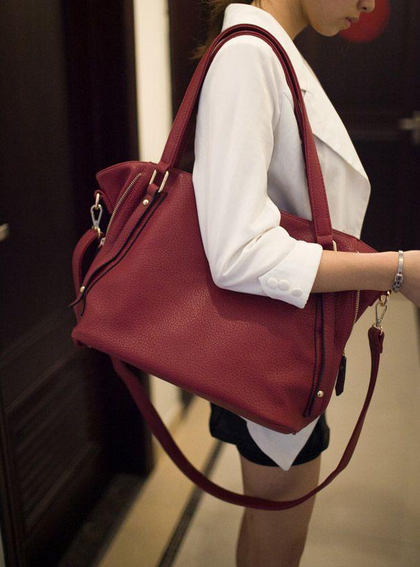 Black Fashion Rivets And Solid Color Design Women's Shoulder Bag ...
