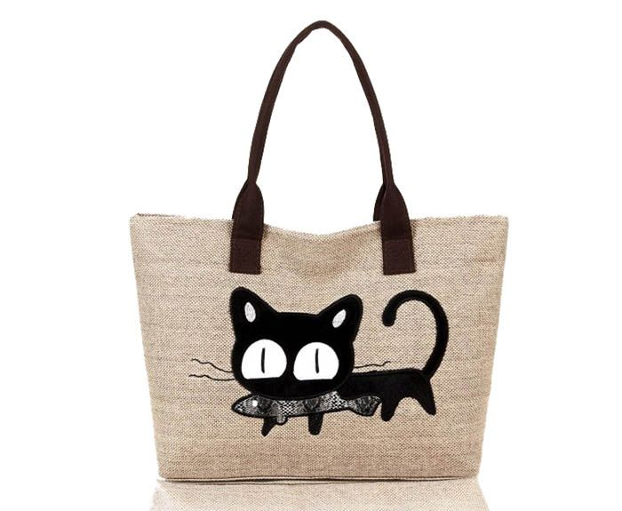 Casual Cat Print and Canvas Design Women's Shoulder Bag