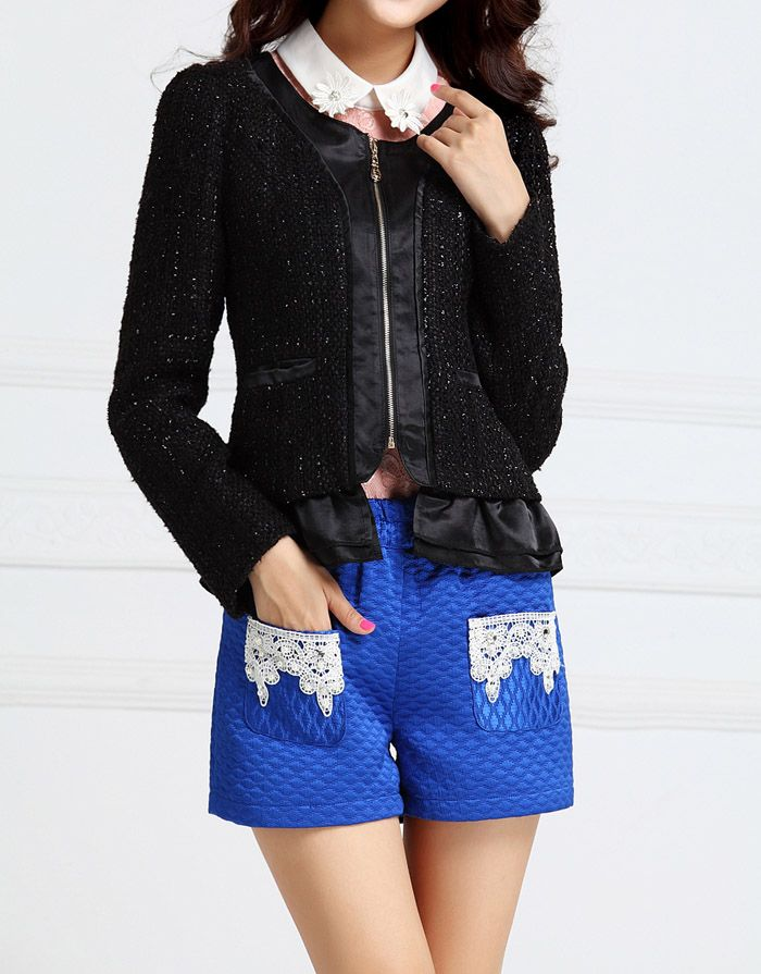 Cute Scoop Neck Flounce Hem Polyester Women's Jacket