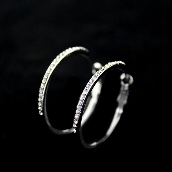 Pair of Rhinestoned Alloy Hoop Earrings