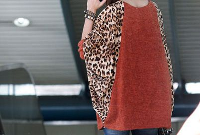 Casual Scoop Neck Color Splicing Leopard Print Long Sleeves Loose-Fitting Women's Sweater