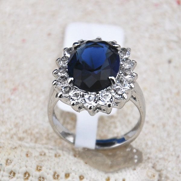 Faux Sapphire Embellished Diamante Alloy Ring