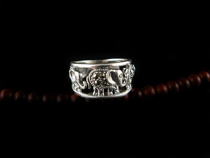 Elephant Hollow Out Alloy Ring