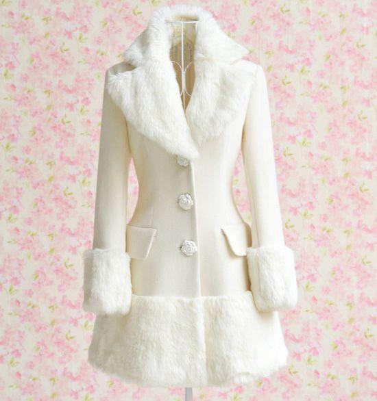 Elegant Turn-Down Collar Long Sleeve White Coat For Women