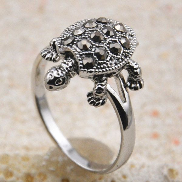 Cute Diamante Tortoise Embellished Alloy Ring For Women