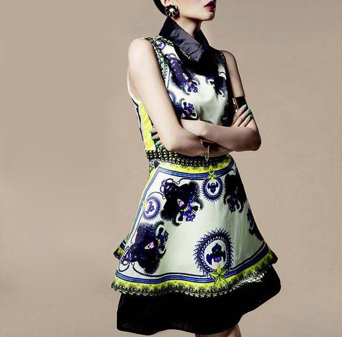 Stylish Flat Collar Floral Print Sleeveless Dress For Women