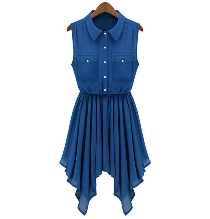 blue m casual flat collar solid color sleeveless dress for w