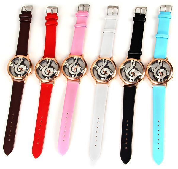 M388 Fashion Style Quartz Watch 12 Mini Dots Indicate with Music Notes Patterned and Leather Band - Black