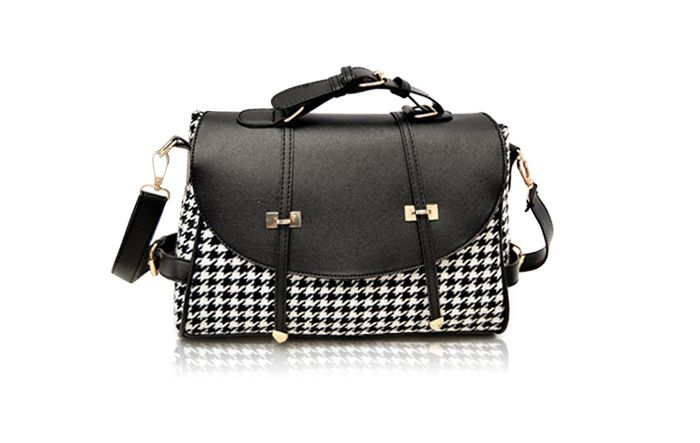 Fashion Houndstooth and Buckle Design Women's Crossbody Bag