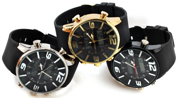 Fucda Waterproof Rubber Band Double Movt Watches with Green Numbers