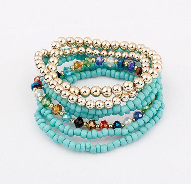 7PCS of Exquisite Bohemian Women's Bead Embellished Bracelets With Elasticity